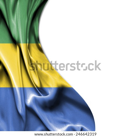 Gabon waving silky flag isolated on white background - stock photo