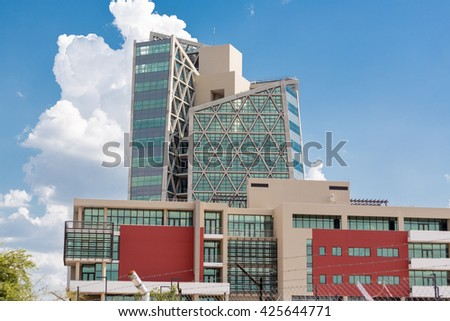Gaborone - Nov 12: One of the many modern buildings of Gaborone, one of the fastest growing cities in the world built over a span of a few years. Nov 12, 2014 in Gaborone, Botswana
