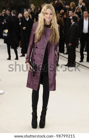 Gabriella Wilde arriving for the Burberry Prorsum fashion show as part of London Fashion Week 2012 A/W in Kensington Gardens, London. 20/02/2012 Picture by: Steve Vas / Featureflash