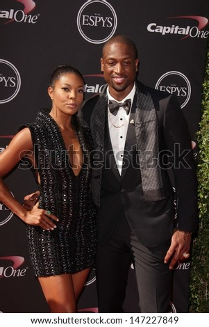 Gabrielle Union and Dwayne Wade at The 2013 ESPY Awards, Nokia Theatre L.A. Live, Los Angeles, CA 07-17-13 - stock photo