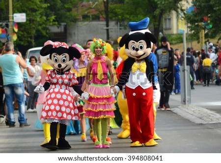 GABROVO  BULGARIA - MAY 16 2015 : Mickey Mouse, Minnie Mouse at the yearly carnaval in Gabrovo city - stock photo