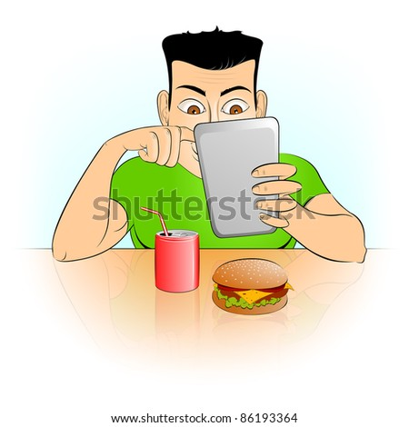 Gadget and fast food - stock photo
