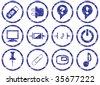 Gadget icons set. Grunge. White - dark blue palette. Raster illustration. - stock photo