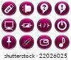 Gadget icons set. Purple - white palette. Raster illustration. - stock photo