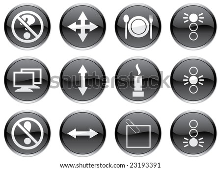 Gadget icons set. White - black palette. Raster illustration.