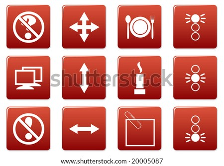 Gadget square icons set. Red - white palette. Raster illustration.