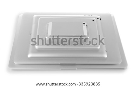 Gadgets on grey background