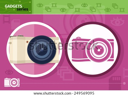 Gadgets series with two digital cameras in circle frames color and colorless variant on lilac with devices silhouettes background. Raster version - stock photo