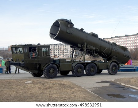"Gadjievo, Russia - May 09, 2015: Mobile missile complex ""Redoubt"" in the exhibition of military equipment"