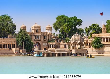 Gadsisar (Gadisagar) lake in Jaisalmer, Rajasthan, India - stock photo
