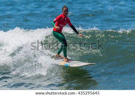 GAIA, PORTUGAL - JUNE 11, 2016: Francesca Rubegni (ITA) at LQS Longboard Pro Gaia Women's Longboard Tour #3. - stock photo