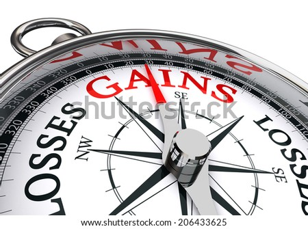 gains word on conceptual compass isolated on white background
