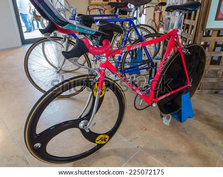 GAIOLE IN CHIANTI, ITALY - 4 OCT. 2014: The late cyclist Marco Pantini's speed trial bicycle on display at L'Eroica, a historic cycling event in Tuscany  - stock photo