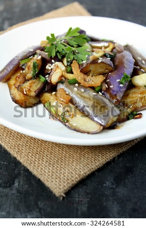 Gaji Namul Korean Steamed Egg Plant With Herb Spices Dried Prawn And Sesame