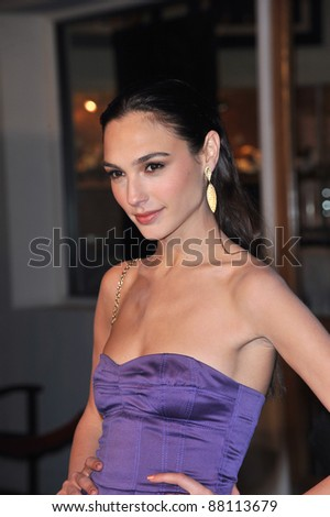 "Gal Gadot at the world premiere of her new movie ""Fast & Furious"" at the Gibson Amphitheatre, Universal Studios, Hollywood. March 12, 2009  Los Angeles, CA Picture: Paul Smith / Featureflash - stock photo"