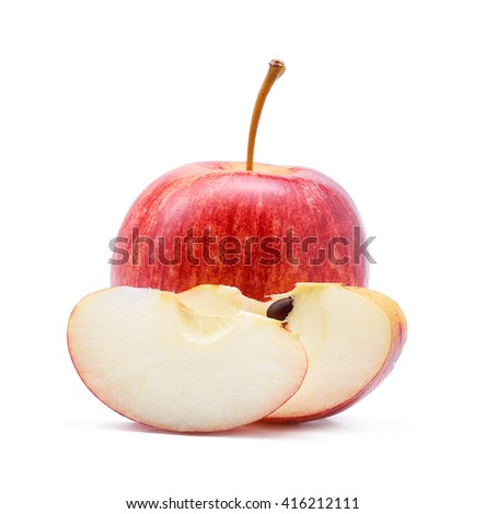 Gala apples isolate on white background - stock photo