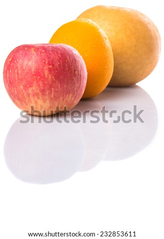 Gala apples, Nashi Asian pears and oranges over white background - stock photo