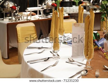 gala dinner table setup - stock photo