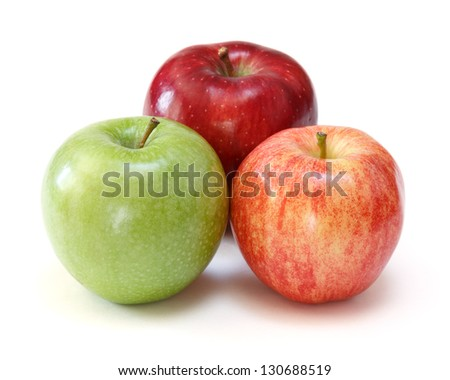 gala, red delicious and granny smith apples - stock photo
