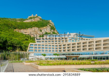 Galaalti - JUNE 19, 2015: Galaalti Hotel on June 19 in Galaalti, Azerbaijan. Galaalti Hotel is a new luxury hotel in Galaalti - stock photo