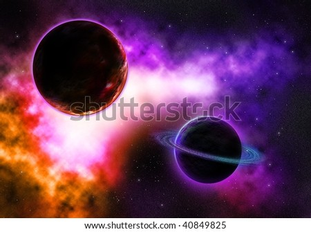 Galactic Space Planet with a Flaming Colorful Nebula