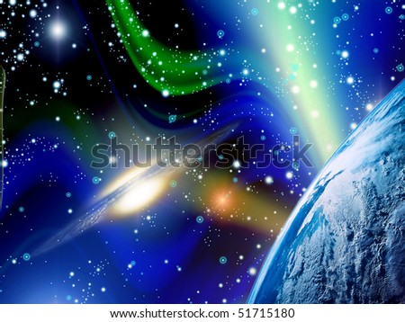 Galactic universe (beautiful and bright background) - stock photo