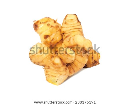Galangal oil isolated on a white background