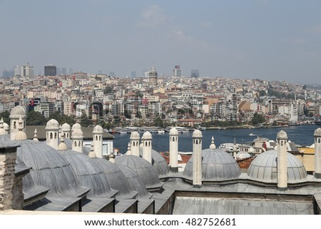 Galata and Karakoy district in Istanbul city, Turkey