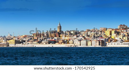 Galata Karakoy district of Istanbul, Turkey and historic architecture and medieval Galata tower in the center - stock photo