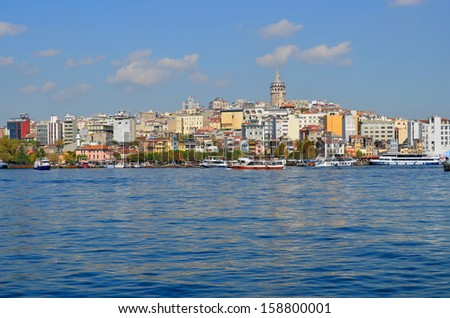 Galata Karakoy quarter of Istanbul, Turkey and historic architecture and medieval Galata tower. - stock photo