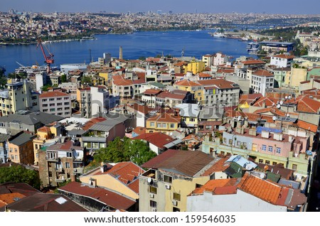 Galata Karakoy quarter of Istanbul, Turkey and historic architecture from medieval Galata tower. - stock photo
