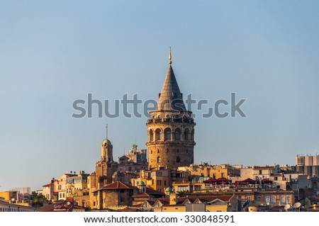 Galata Tower and Karakoy quarter of Istanbul, Turkey with space for text. - stock photo