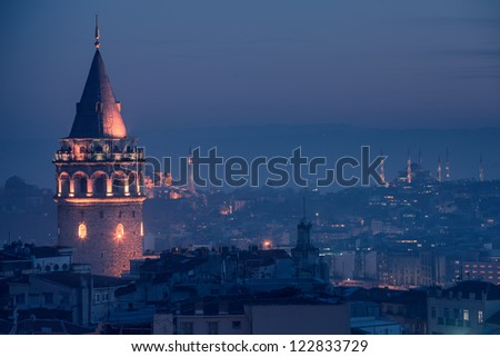 Galata Tower and The Blue Mosque in Istanbul Turkey - stock photo