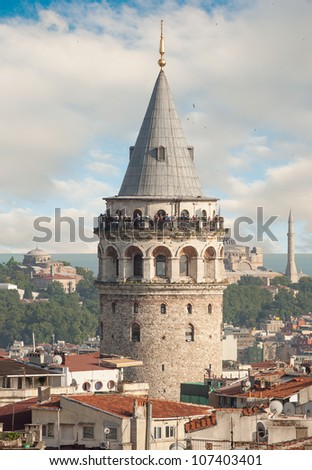 Galata Tower Building in Istanbul - stock photo