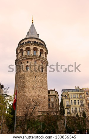 Galata tower in beyoglu, Istanbul, Turkey. - stock photo