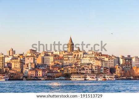 Galata tower in evening light, Istanbul, Turkey