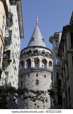 Galata Tower in Istanbul,Turkey - stock photo