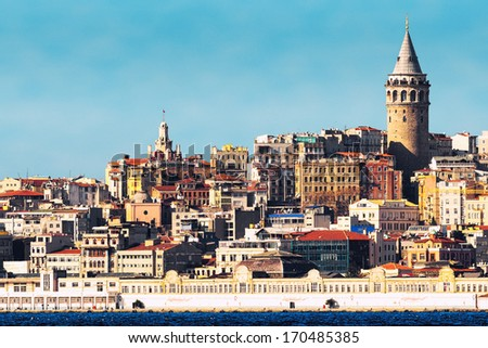 Galata tower in the Beyoglu district in Istanbul, Turkey  - stock photo