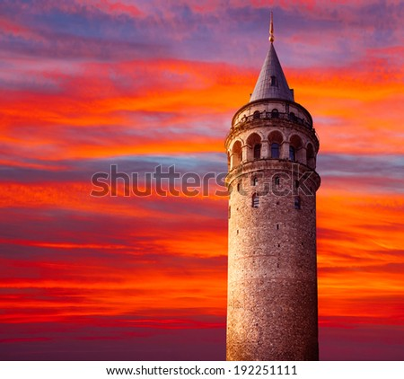 Galata tower is a famous landmark in the European side of Istanbul - stock photo