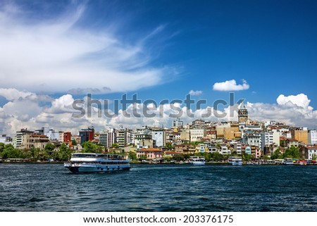 Galata tower - Istanbul sea front view, Bosporus, Turkey. - stock photo