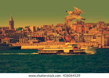 Galata tower, istanbul Turkey , Vintage Effect - stock photo