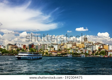 Galata tower sea view in Istanbul, Turkey. - stock photo