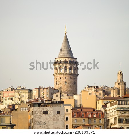 Galata Tower, the panorama of Istanbul. Sights of Istanbul. Galata Tower is located in the European part of Istanbul, on a high hill area of Galata - stock photo
