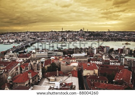 galata towers view in istanbul - stock photo