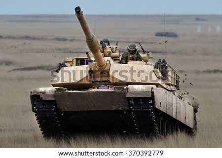 GALATI, ROMANIA - APRIL 22: US tank  Abrams A1M1 in military polygon in the exercise Platinum Lynx 16 on Galati, Romania, 11 december 2015.