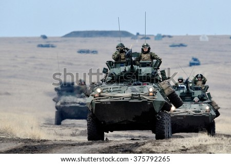 GALATI, ROMANIA - DECEMBER 11: US  Assault Amphibious Vehicle in military polygon in the exercise Platinum Lynx 16 on Galati, Romania, 11 december 2015. - stock photo