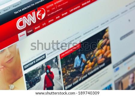 Galati, Romania - February 14: Photo of CNN homepage on a monitor screen, on 14 February, 2014, Galati, Romania - stock photo
