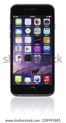 Galati, Romania - November 6, 2014: Apple Space Gray iPhone 6 showing the home screen with iOS 8. Apple released the iPhone 6 and iPhone 6 Plus on September 9, 2014. - stock photo