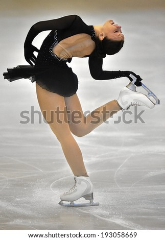GALATI, ROMANIA - OCT 24: Unknown skater competing in the event ''Cristal skate'' of Romania, on 24 October, 2014, in Galati, Romania - stock photo