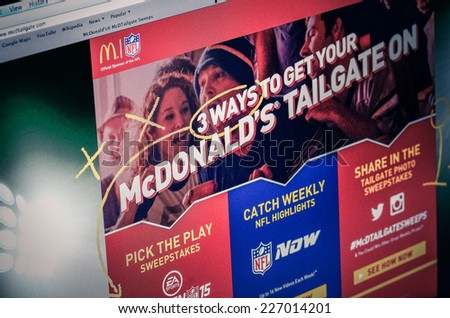 GALATI, ROMANIA - SEPTEMBER 28, 2014: Photo of McDonald's homepage on a monitor screen